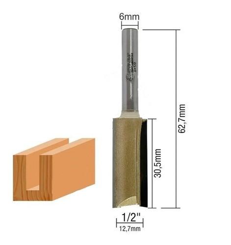 Fresa Reta Para Madeira Tupia Haste 6mm X 1/2 (12.7mm)