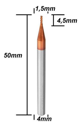 Fresa Topo Metal Duro 1,5mm 4 Cortes Hrc55 Cobertura Tisin