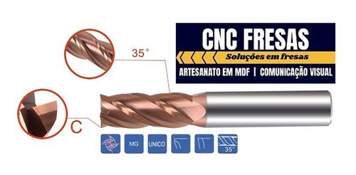 Fresa Topo Metal Duro 4.0mm 4 Cortes Hrc55 Cobertura TiSiCrN