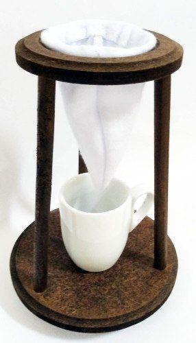 Kit 10 peças - Mini Coador De Café + xícara Porcelana com suporte madeira