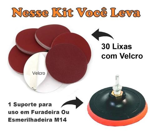 Kit 30 Lixas Roto Orbital Velcro Vários Grãos + Suporte com Velcro