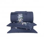 Colcha Cobre Leito Super King + 2 Porta Travesseiros Megan Azul Percalle Buddemeyer