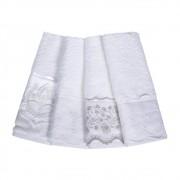 Jogo 2 toalhas de lavabo trussardi imperiale bordada branco