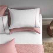 Jogo de cama casal 180 fios em algodão 3 peças liam – filete rosa - karsten