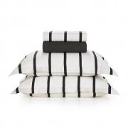 Jogo de cama Queen 100% algodão Tomaz Preto e Branco Karsten