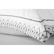 Jogo de Cama Queen Egípcio 300 fios Design Minimalista Bordado Preto - Fence ByTheBed