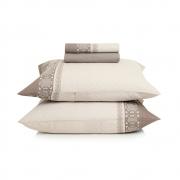 Jogo de lençol casal extramacio 100% algodão Portofino em tons de bege neutro - karsten