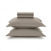 Jogo de lençol Casal Liss Taupe 100% algodão - Karsten