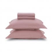 Jogo de lençol queen algodão 4 peças Rosa Liss - karsten