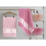 Jogo de toalha infantil  bailarina 2 peças rosto e corpo rosa karsten