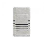Jogo de toalhas 2 peças - cinza com preto - fio penteado (1rosto + 1corpo banhão) - 500g/m2 - lumina - karsten