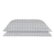 Kit 2 fronhas Grid Cinza / Grafite 50x70 100%algodão Naturalle