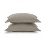 Kit 2 fronhas lisas - Taupe avulsas - 100% algodão extra macio - liss karsten
