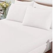 Lençol de Elástico Casal em Malha Branco Premium Bouton