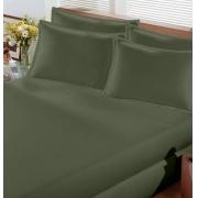 Lençol de Elástico Casal em Malha Verde Musgo Premium Bouton