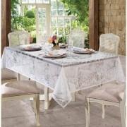Toalha de Renda Retangular 8 Lugares Rosas -1 Peça - Branco - Lepper