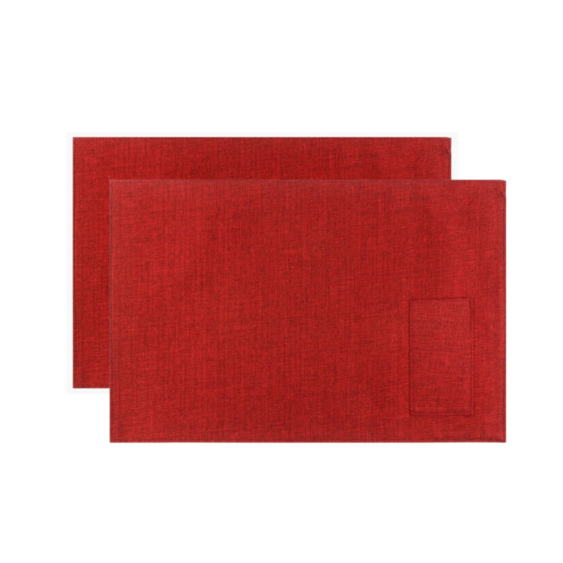 2 jogos americanos Linho Impermeável Vermelho bolso talher