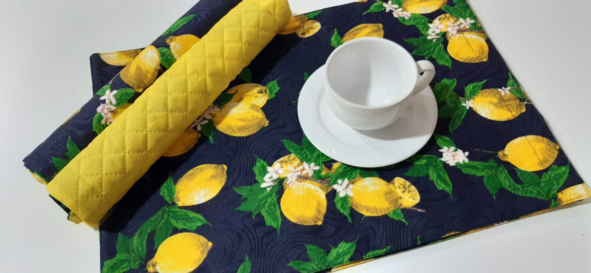 4 Jogos americanos Amarelo Siciliano duplaface Paloma Home