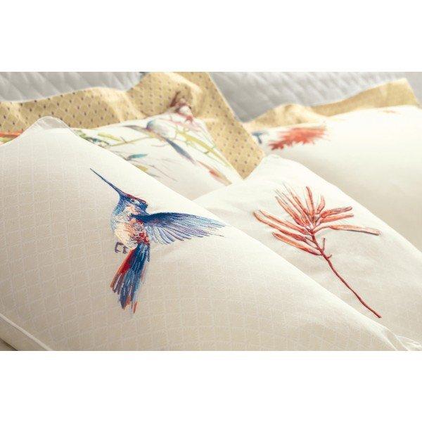 Almofada bordada em cetim Flor Costa Dorata - Trussardi