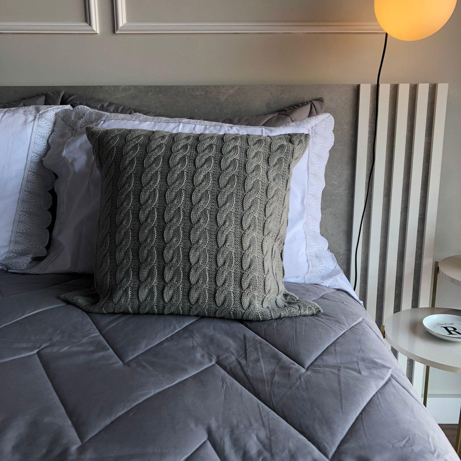 Almofada Tricot Quadrada Clássico Cinza 45x45cm Casa Paloma