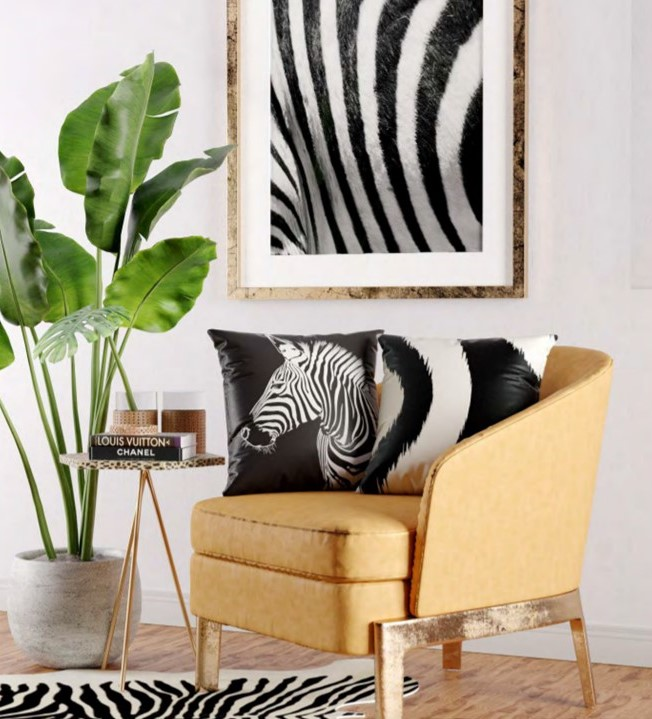 Almofada Zebra Black White Animal Printed 43x43 Belchior