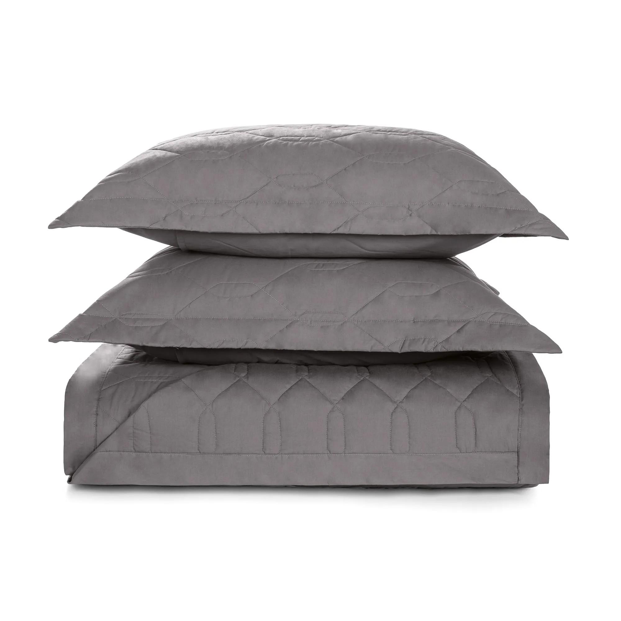 Cobre leito casal cinza grafite 100% algodão - Liss karsten
