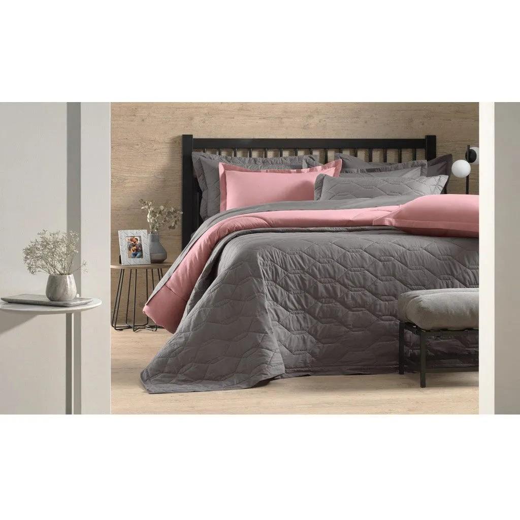 Cobre leito casal liso - liss rosa 100% algodão  extramacio - karsten