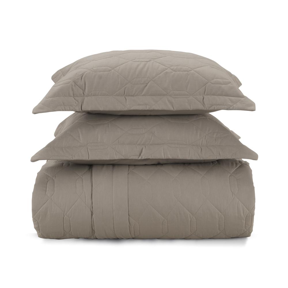 Cobre leito solteiro algodão 2 peças liss marrom taupe - Karsten