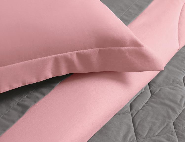 Cobre leito solteiro algodão 2 peças liss rosa - Karsten