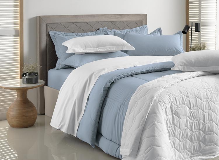 Cobre leito solteiro / solteirão algodão azul allure -  karsten