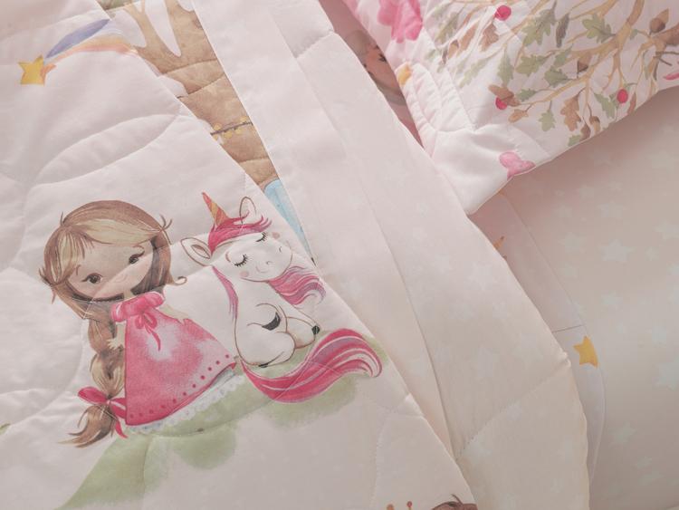 Cobre Leito Infantil Solteiro 100% algodão Princesa e Unicórnio Encantada  – Karsten