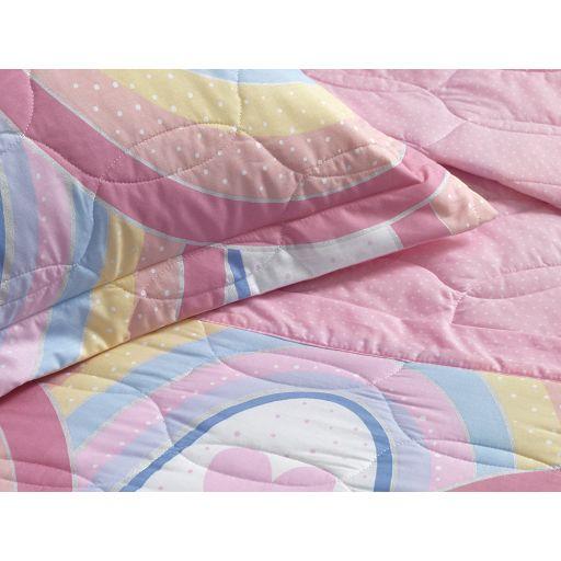 Colcha Cobre Leito Casal Infantil Arco Íris + 2 Porta Travesseiros 100% Algodão Karsten