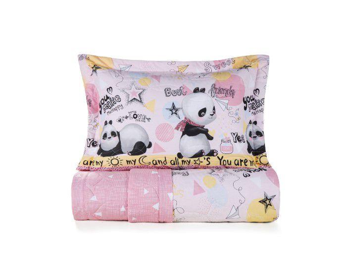 Colcha solteiro / solteirão panda lia 100% algodão 3 peças – karsten