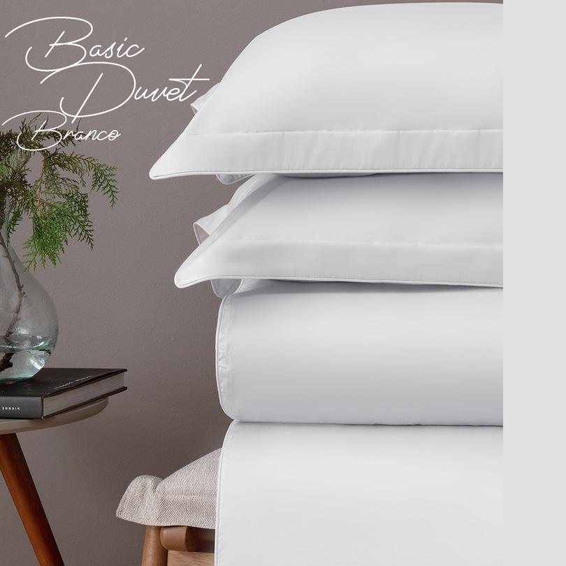 Duvet capa de edredom Solteiro branco Cetim300fios Naturalle