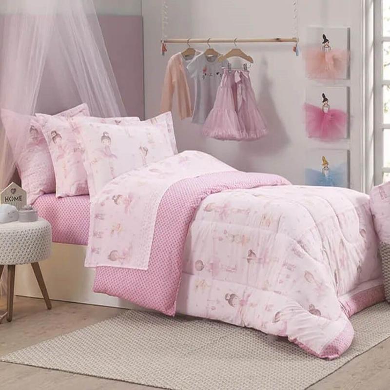 Edredom infantil algodão casal bailarina em tons de rosa - extra macio  karsten