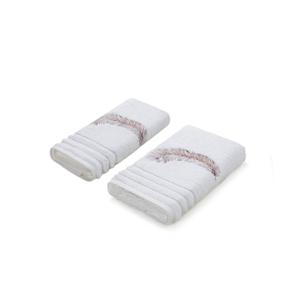 Jogo de 2 toalhas Bordadas 1 Lavabo + 1 Rosto Villagio Trussardi
