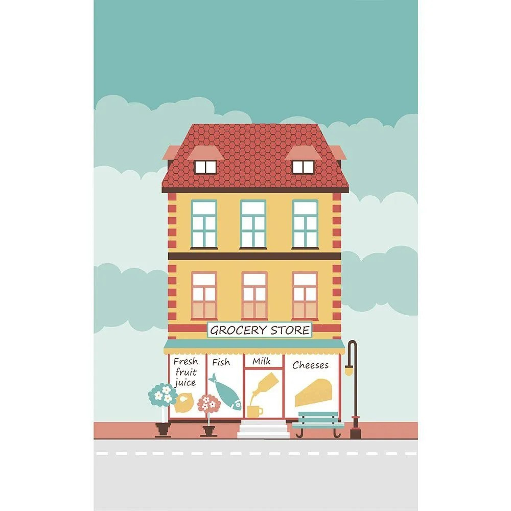 Jogo de 6 unidades - pano de copa atoalhado vilarejo – casas modernas - lepper