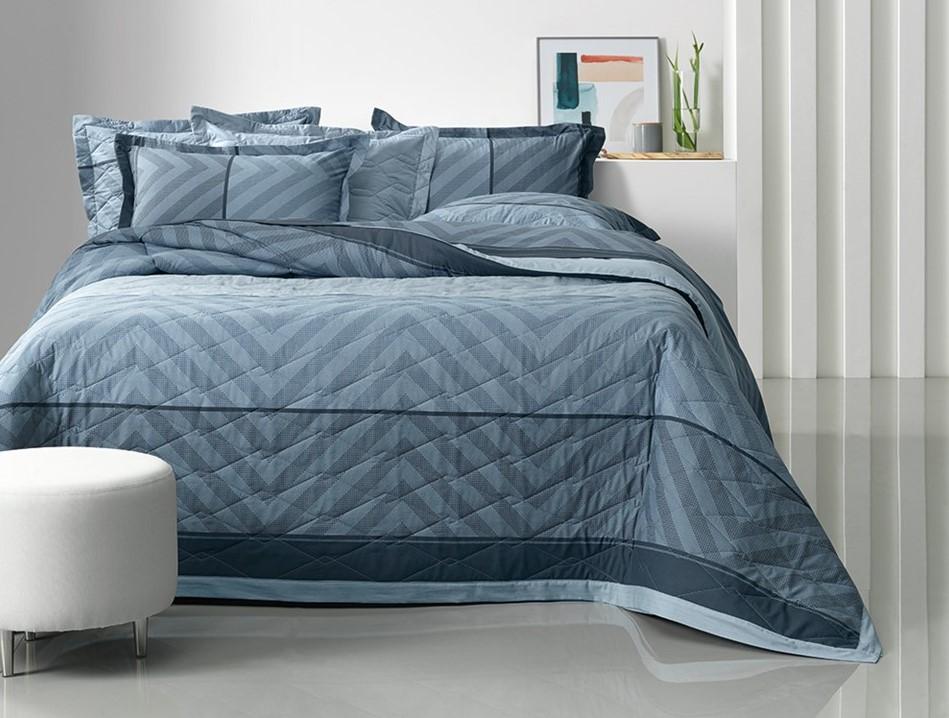 Jogo de cama Casal 100%algodão Oslo Azul Karsten