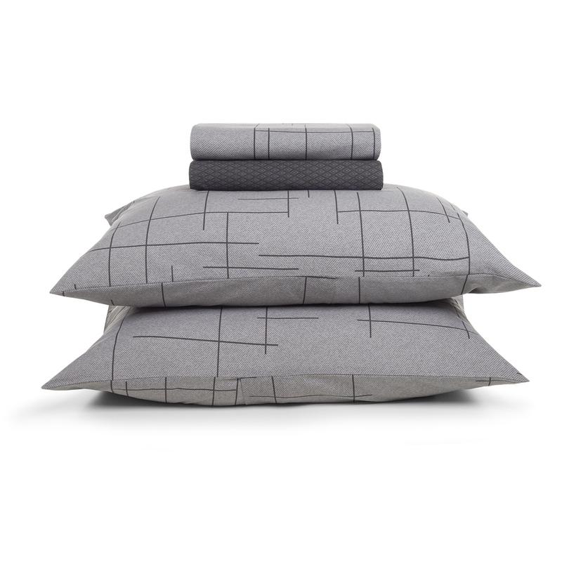 Jogo de cama Casal Salles geométrico neutro cinza - 100% algodão - karsten