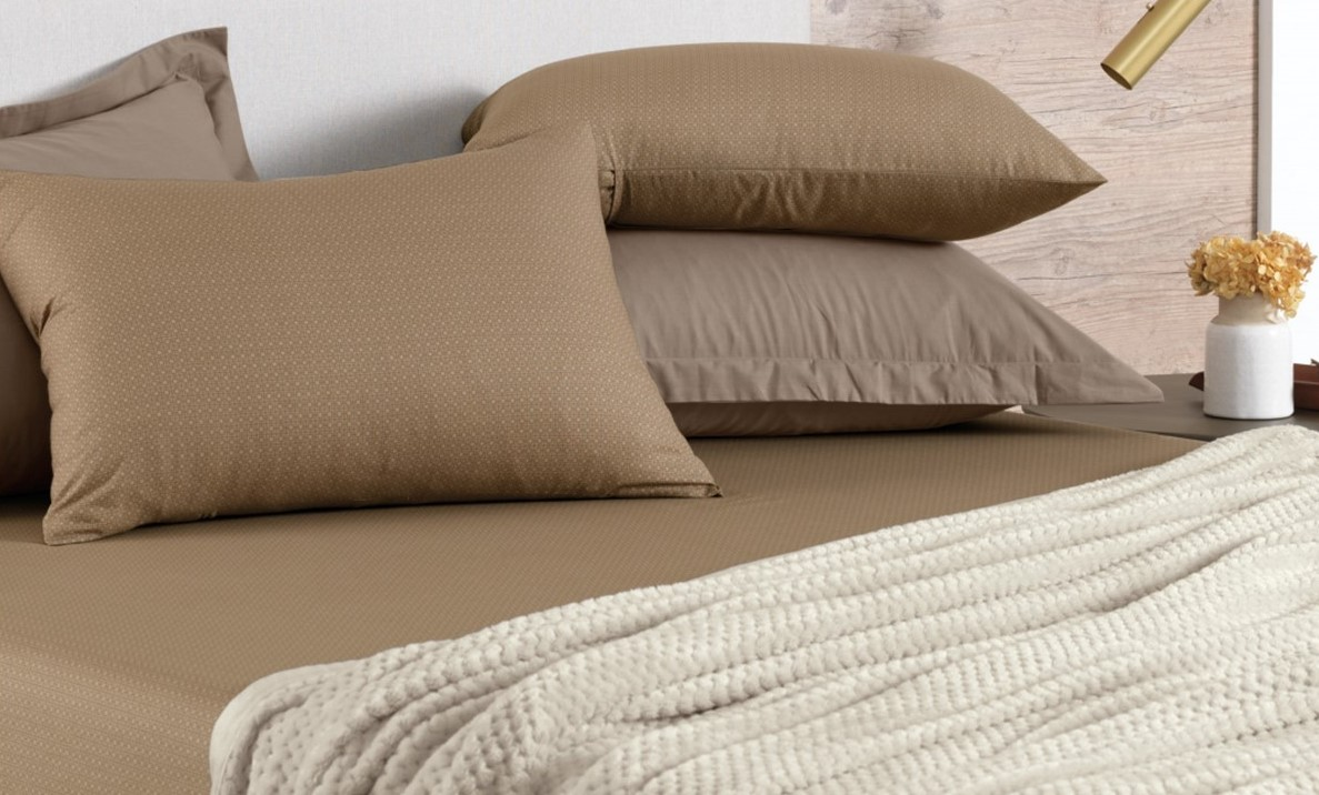 Jogo de cama King 100% algodão 3 peças Taupe Italo Karsten