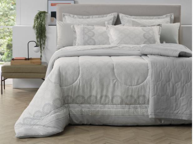 Jogo de cama King 100% algodão Ávila tons de cinza Karsten