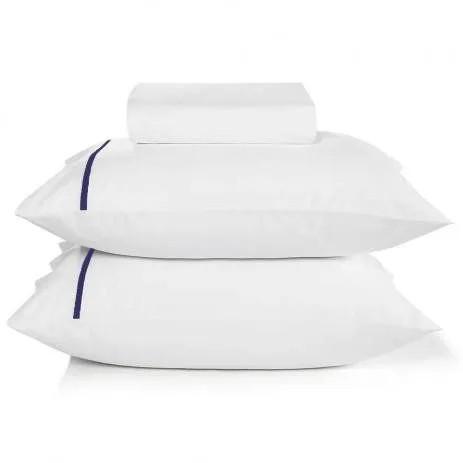 Jogo de cama king 180 fios em algodão 3 peças liam – filete marinho - karsten