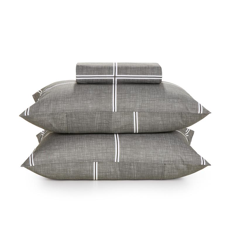 Jogo de cama Queen 100% algodão 3 peças Cinza Rael Karsten