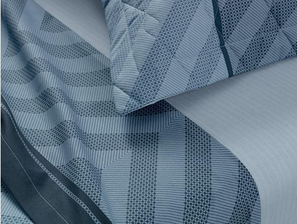 Jogo de cama Queen 100% algodão Oslo Azul Karsten