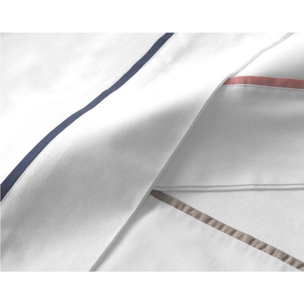 Jogo de cama queen 180 fios em algodão 3 peças liam – filete rosa - karsten