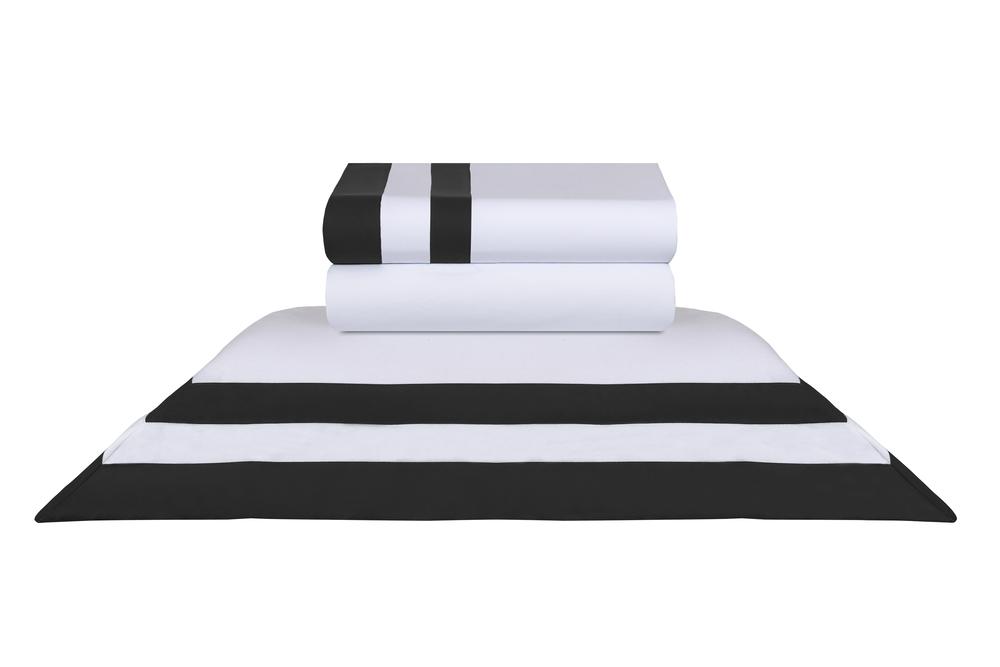 Jogo de Cama Queen Double Bicolor Preto e Branco Naturalle