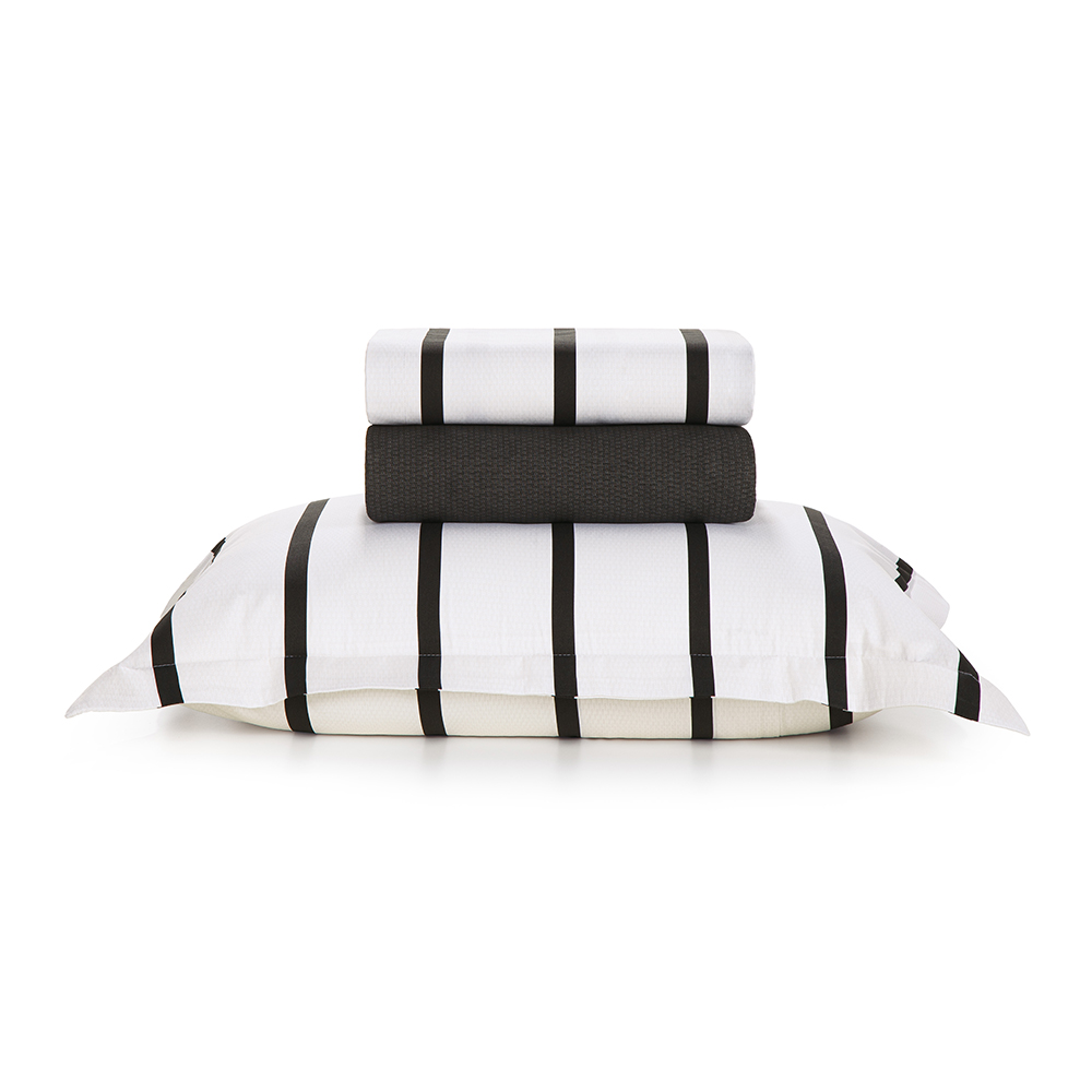 Jogo de cama Solteirão100% algodão Tomaz Preto&Branco Karsten
