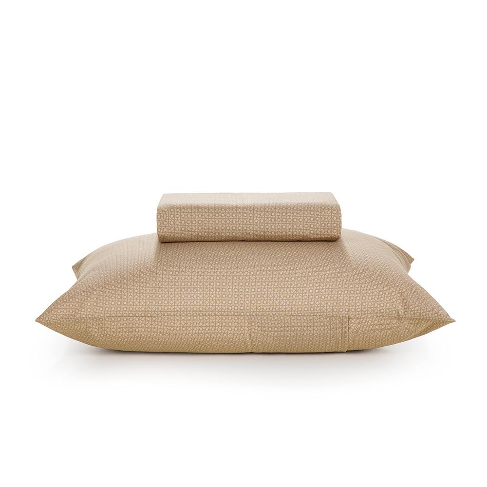 Jogo de cama Solteirão 100% algodão 2 peças Taupe Italo Karsten