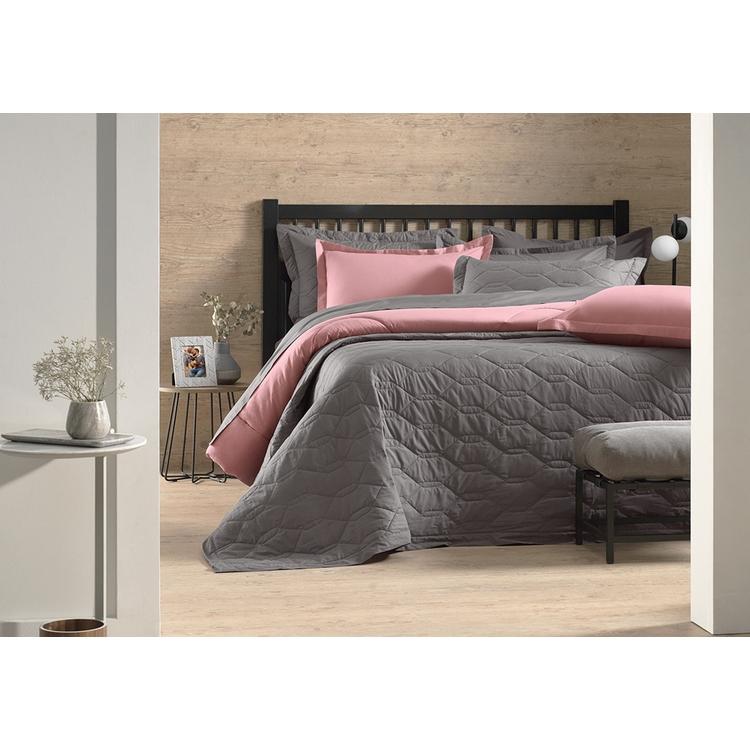 Jogo de lençol Casal Rosa 100% algodão Liss - Karsten