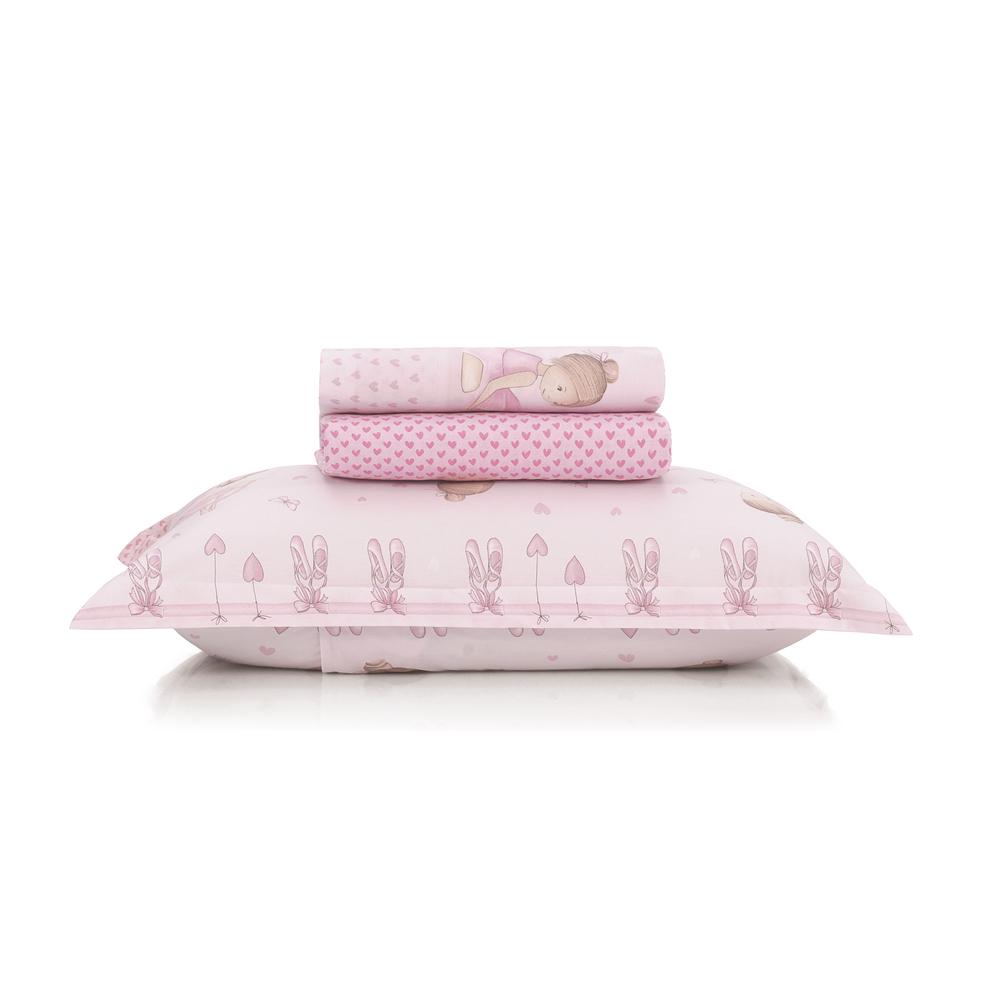 Jogo de lençol infantil solteirão bailarina em tons de rosa - 180 fios extra macio  karsten